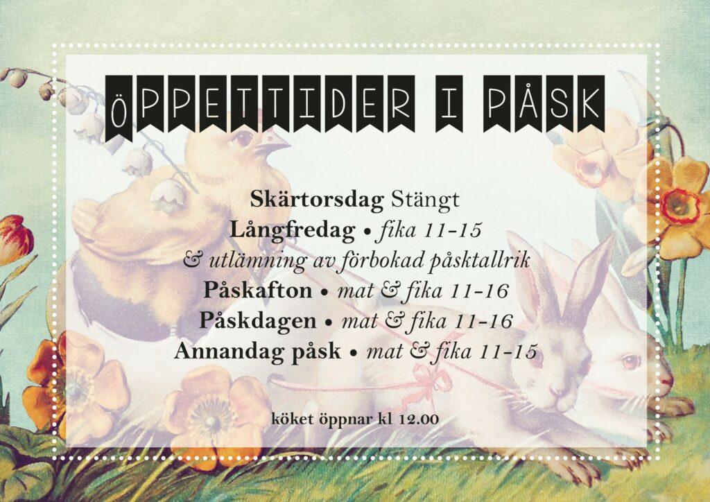 Öppettider i påsk på Gårdstunet i Finnfara